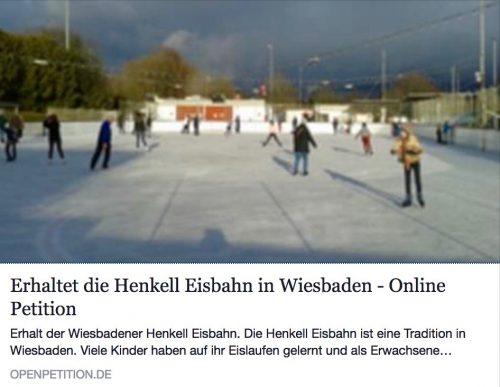 Ankündigung Sportausschuss 12.03.15: Bild und Link zur Petition 'Erhaltet die Henkell-Eisbahn in Wiesbaden'