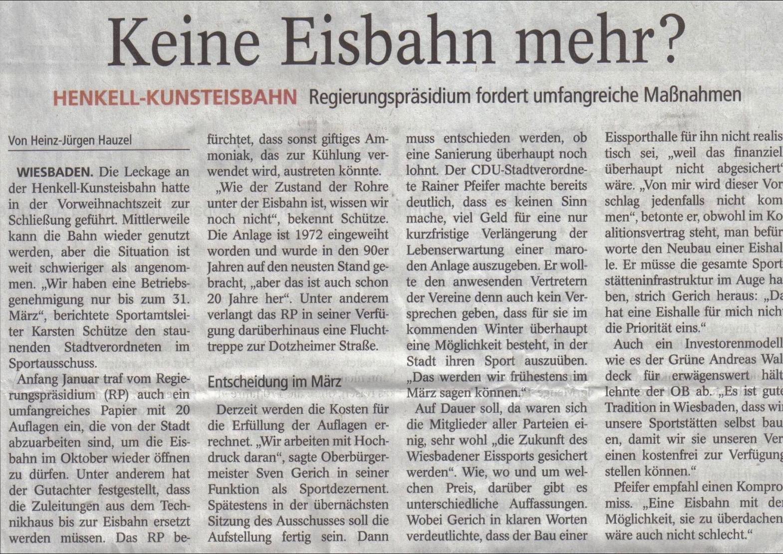 Zeitungsartikel 'Keine Eisbahn mehr?' von Heinz-Jürgen Hauzel