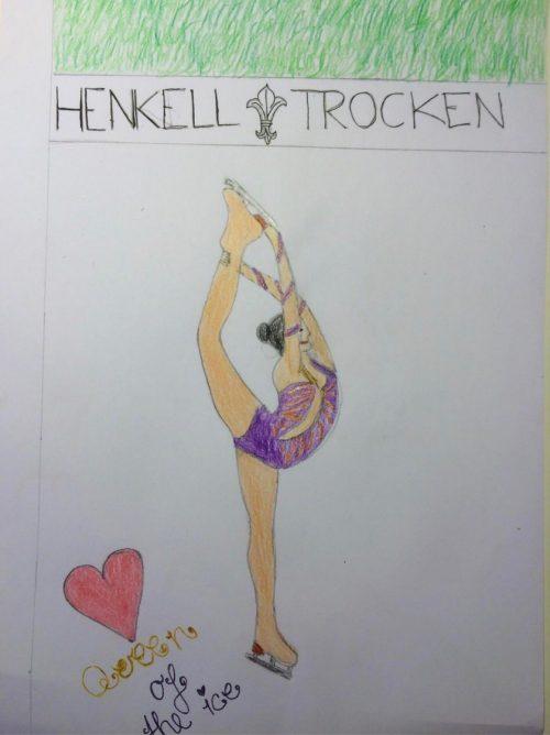 Eislaufen: Gemaltes Bild der Ballerina 'Queen of the ice'