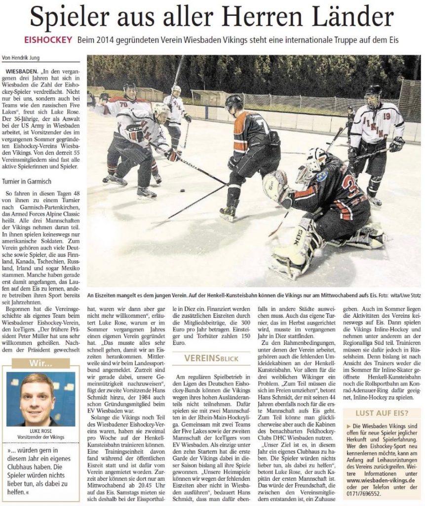 Eishockey mit den Wiesbaden Vikings: Zeitungsartikel