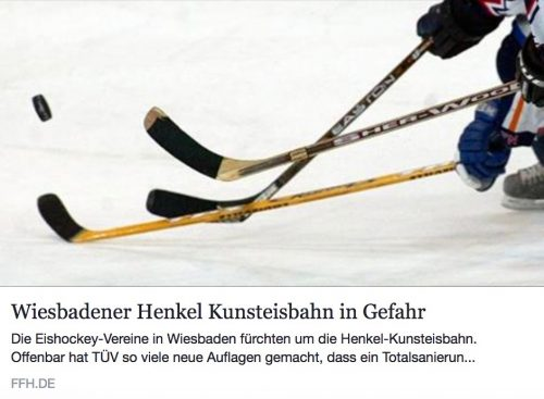 Artikel ffh.de 'Wiesbadener Henkell-Kunsteisbahn in Gefahr'