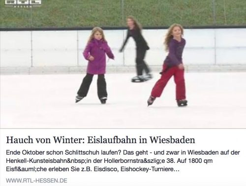 Artikel rtl-hessen.de 'Hauch von Winter: Eislaufbahn in Wiesbaden'