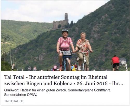 Tal Total - Ihr autofreier Sonntag im Rheintal - Link zu taltotal.de und Bild mit zwei Radfahrern