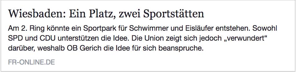 """Ein Platz, zwei Sportstätten: Artikel FR-online.de """"Am 2. Ring könnte ein Sportpark entstehen"""""""