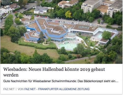 Schwimmbad und Eisbahn: Zeitungsartikel faz.net 'Neues Hallenbad könnte 2019 gebaut werden'