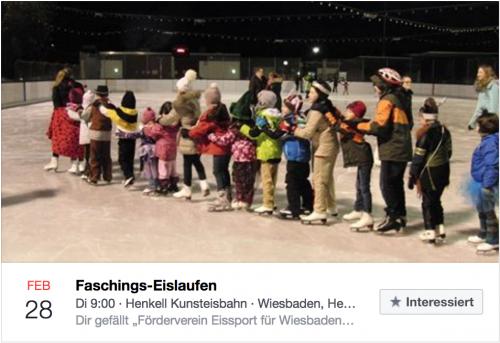 Kostümierte Kinder auf der Eisbahn, Helfer Faschingslaufen gesucht