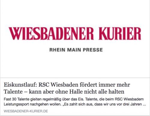 Artikel Wiesbadener Kurier: 'RSC Wiesbaden fördert immer mehr Talente - kann aber ohne Halle nicht alle halten'
