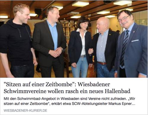 Synergien nutzen: Artikel WiesbadenAktuell 'Wiesbadener Schwimmvereine wollen rasch ein neues Hallenbad'
