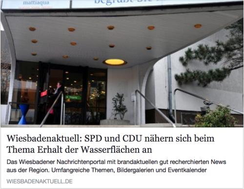 """Verknüpfung: Artikel WiesbadenAktuell 'SPD und CDU nähern sich beim Thema Erhalt der Wasserflächen an"""""""