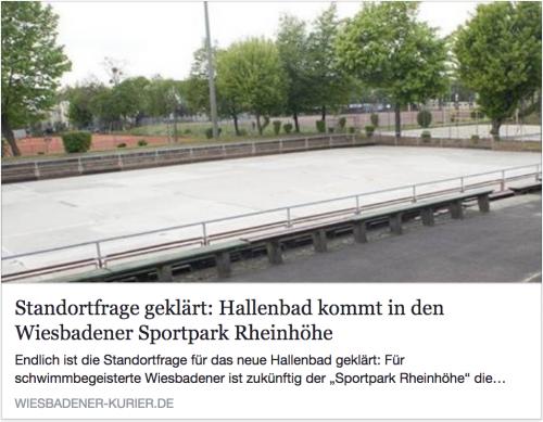 Link zu Artikel WiesbadenAktuell: 'Standortfrage geklärt: Schwimmbad kommt in den Wiesbadener Sportpark Rheinhöhe'