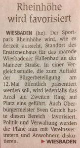 Wichtige Etappe zur Sicherung des Eissports: Zeitungsartikel 'Rheinhöhe wird favorisiert'