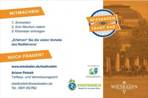 """Größtes Team tritt in die Pedale: Internetseite Stadtradeln """"Wiesbaden fährt Rad"""""""