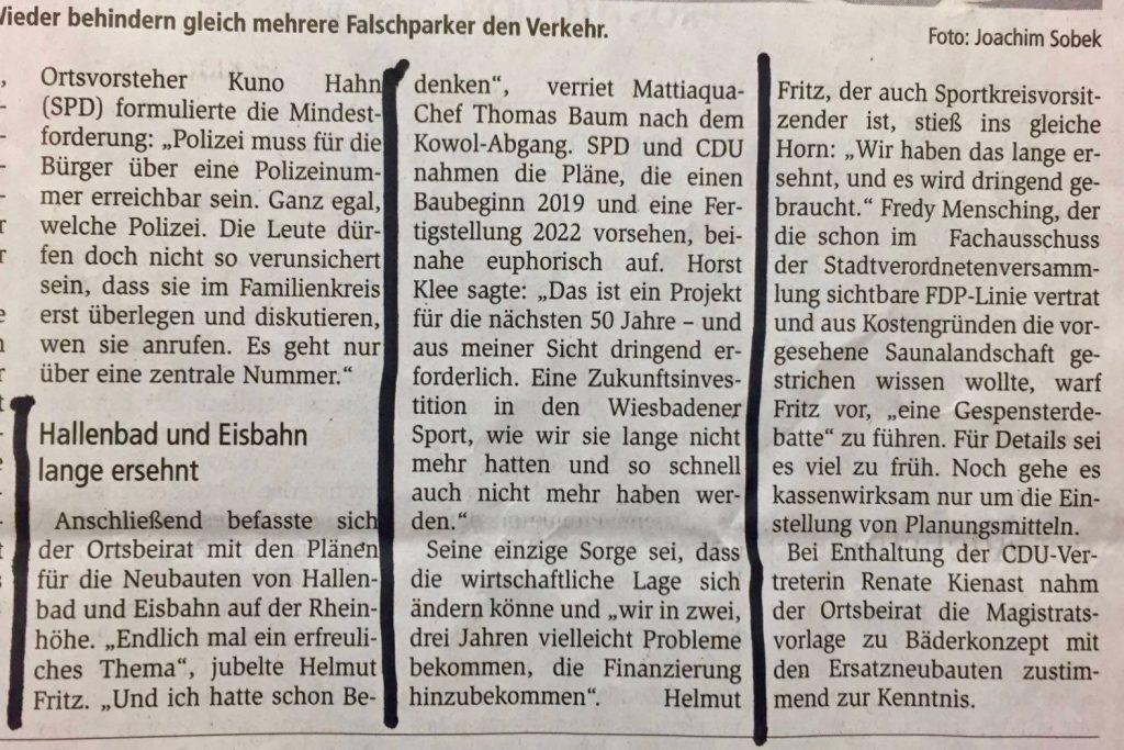 Hallenbad und Eisbahn lange ersehnt: Artikel Wiesbadener Kurier vom 10.11.17