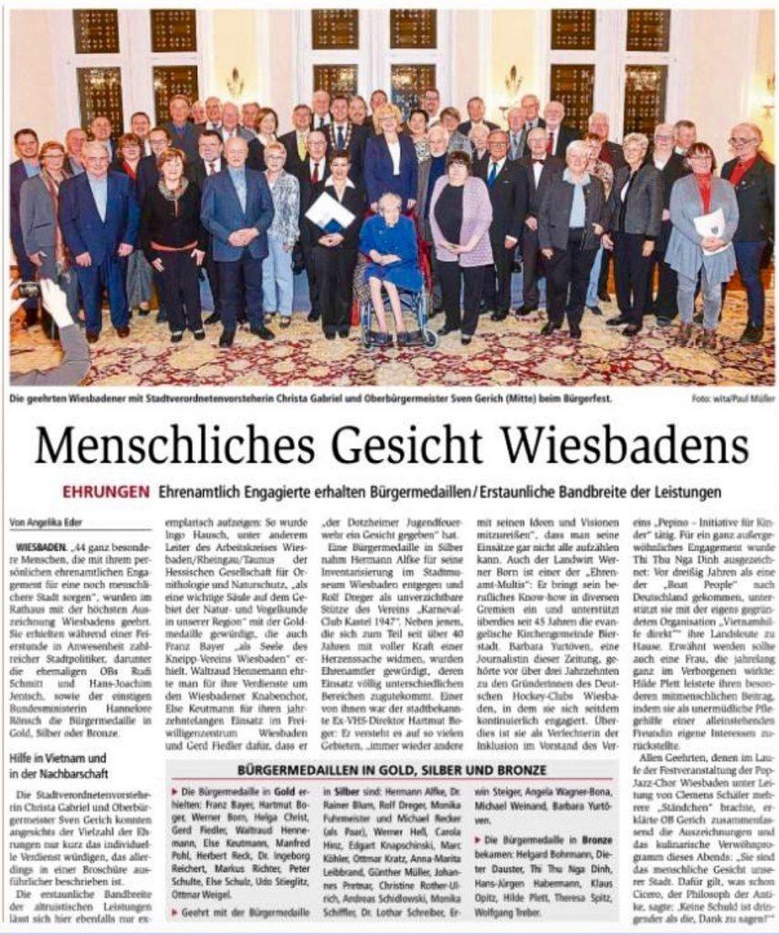 Wiesbadener Kurier zur Verleihung der Ehrenmedaille an Herbert Reck