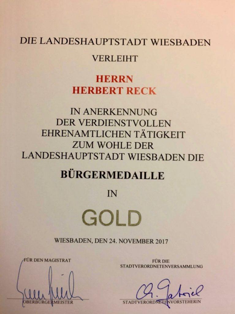 Urkunde zur Ehrenmedaille für Herbert Reck