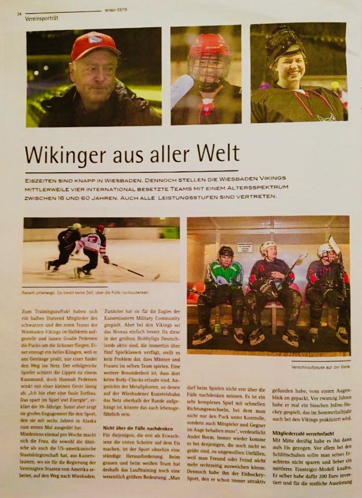 Porträt der Wiesbaden Vikings, das im Sensor Wiesbaden erschienen ist, Seite 1
