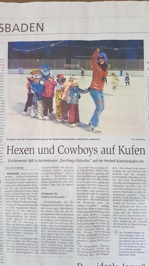 Zeitungsartikel Wiesbadener Kurier vom 29. Februar 2019